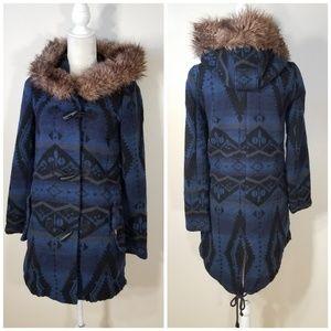 BB Dakota | navy blue Bostwick tribal pattern coat